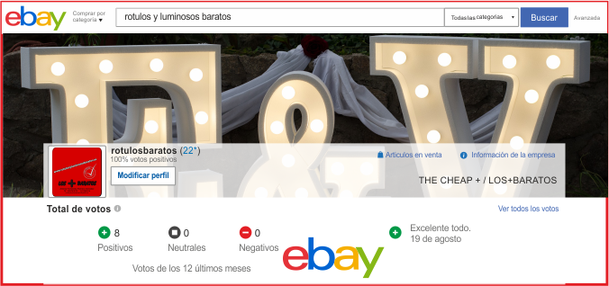 rotulos luminosos en ebay